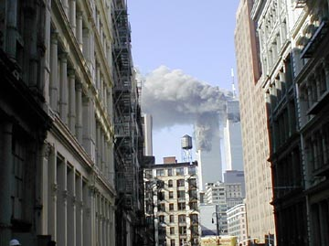 Both towers on fire, 9:15am